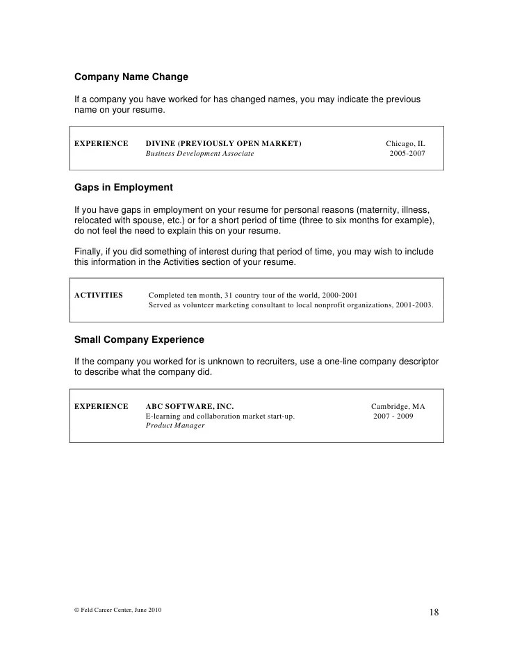 resume with name change