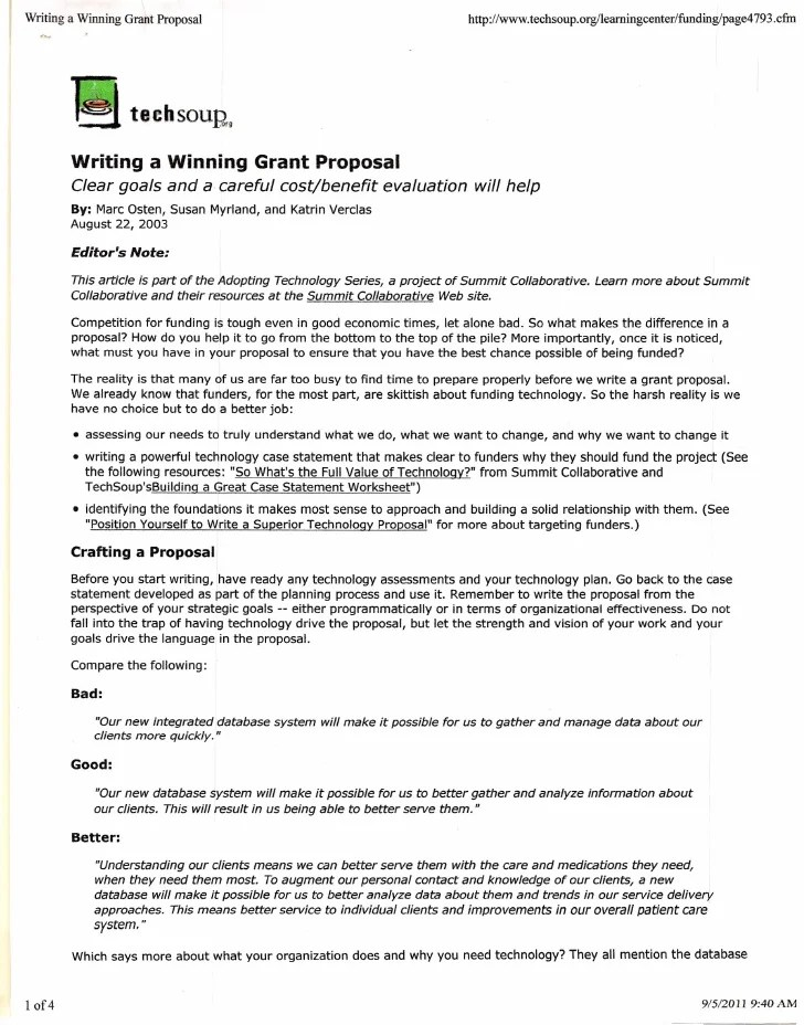 Sample Business Proposals Examples Assist Proposal Writing Writing Winning Grant Proposals
