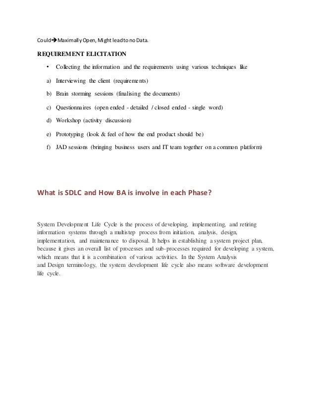 Use Case And Business Analyst Interview Questions Business Analyst Documentation