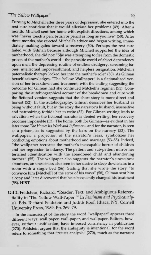 The yellow wallpaper critical analysis essay