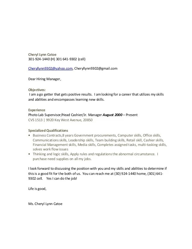 good example of a cover letter for a job