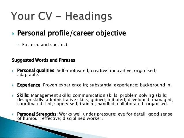 Example profile header resume
