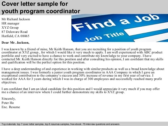 program manager cover letter - Thevillas - sample youth coordinator resume