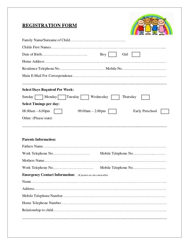emergency contact form for children - Onwebioinnovate