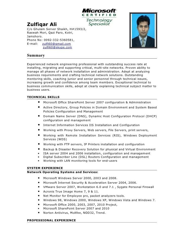 sample resume for system administrator - Minimfagency