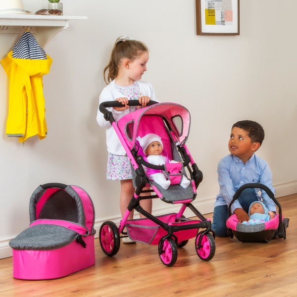 3 In 1 Travel Prams Maddison 3 In 1 Travel Stroller Pink Dolls Buggies Prams