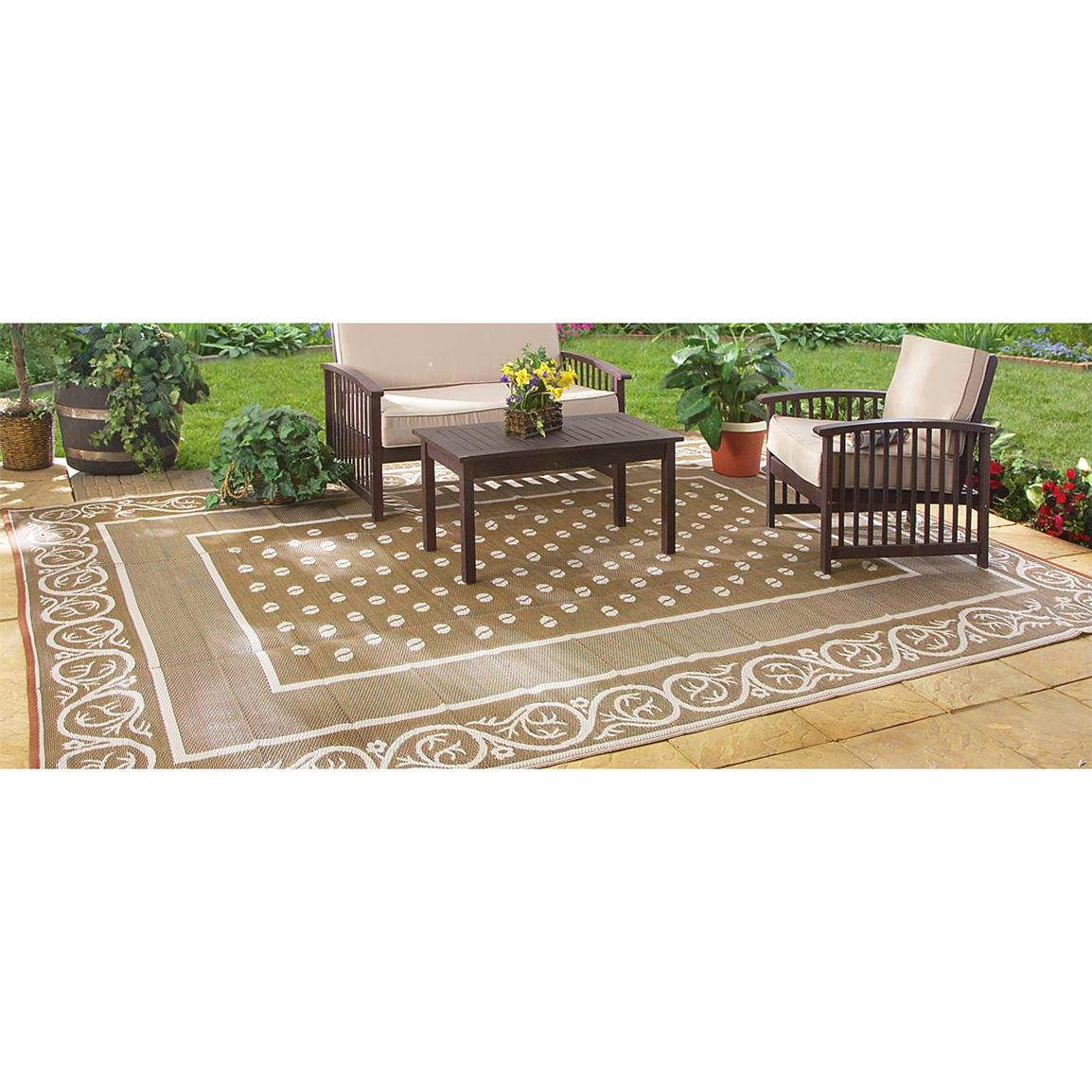 Guide Gear Reversible 4' x 6' Outdoor Rug, Scroll Pattern