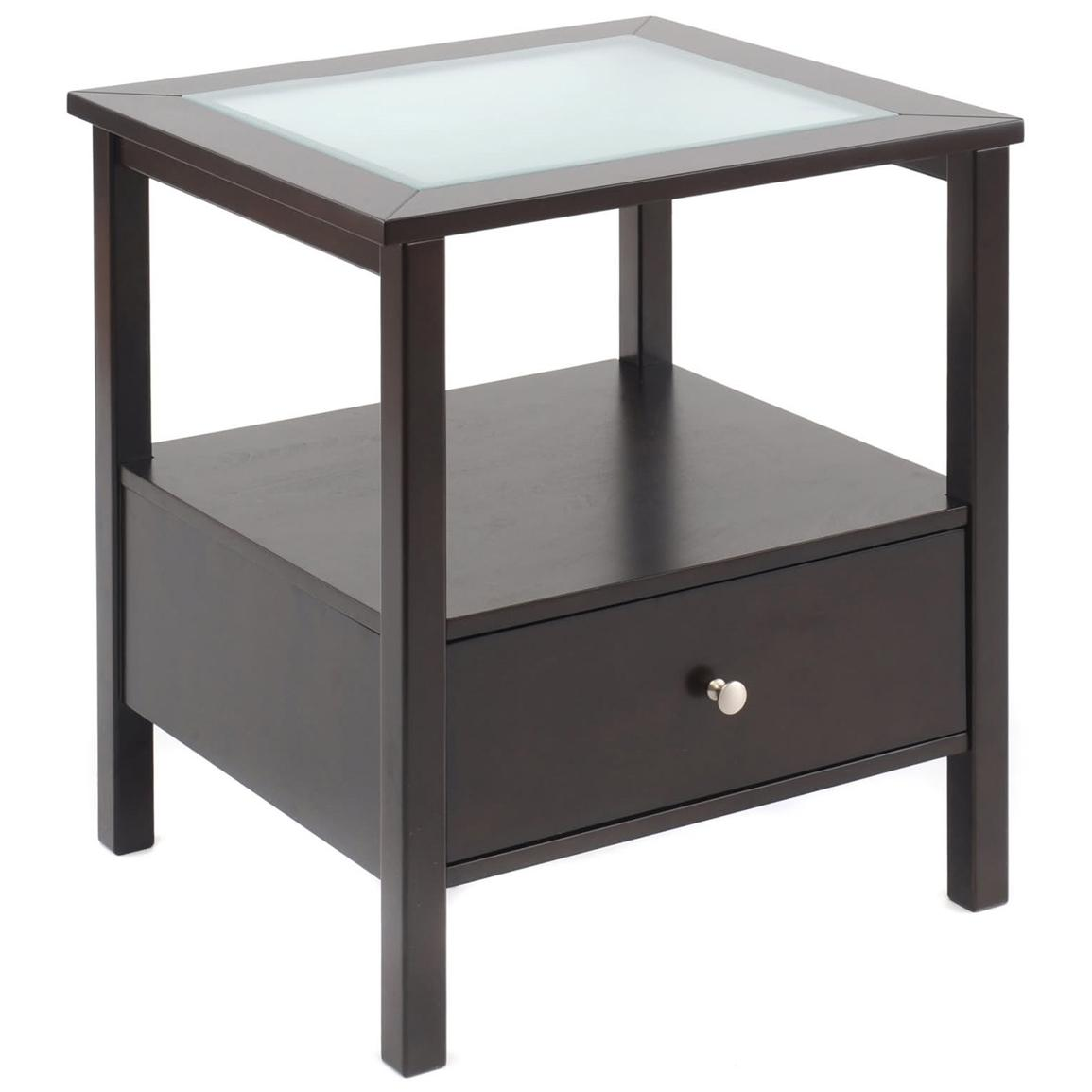 Glass End Table With Drawer End Table With Glass Insert Top And Drawer 236456