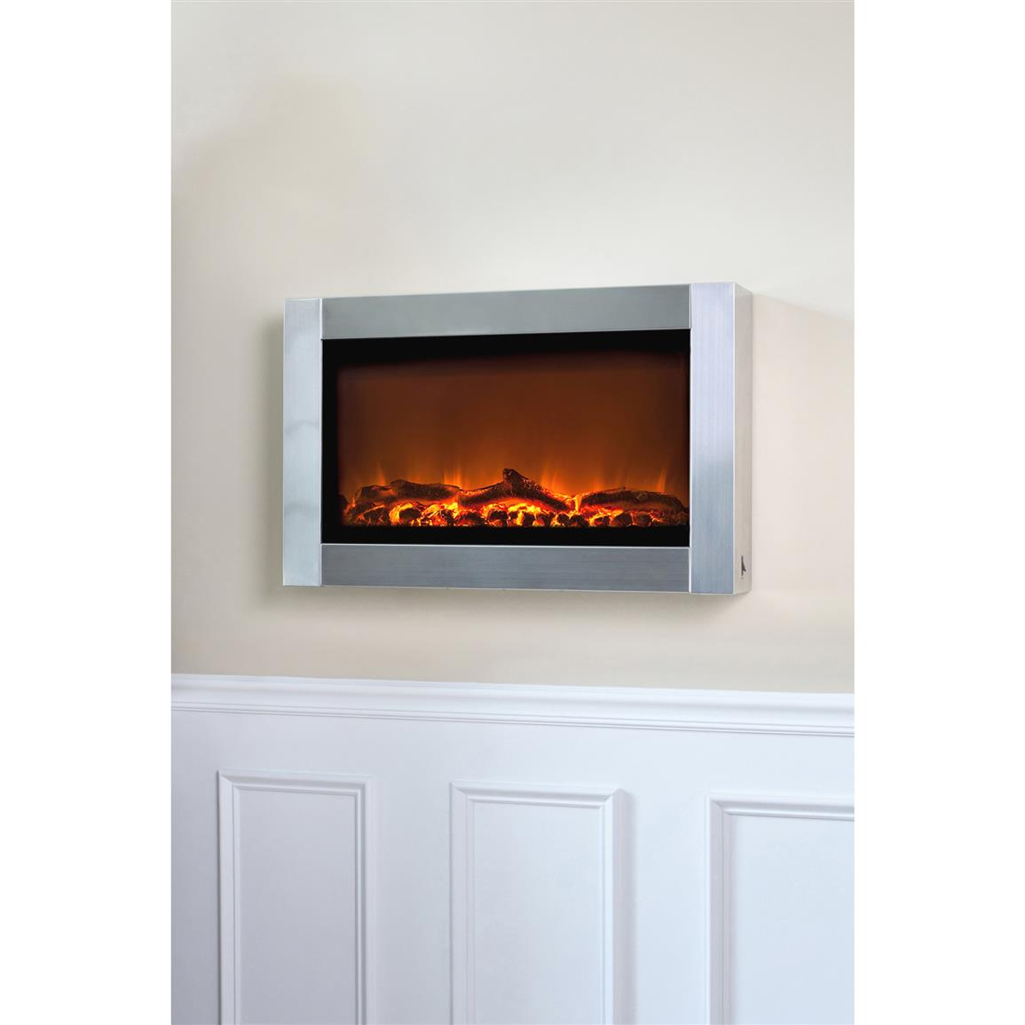 Stainless Steel Fireplace Wall Mounted Electric Fireplace Stainless Steel 281334