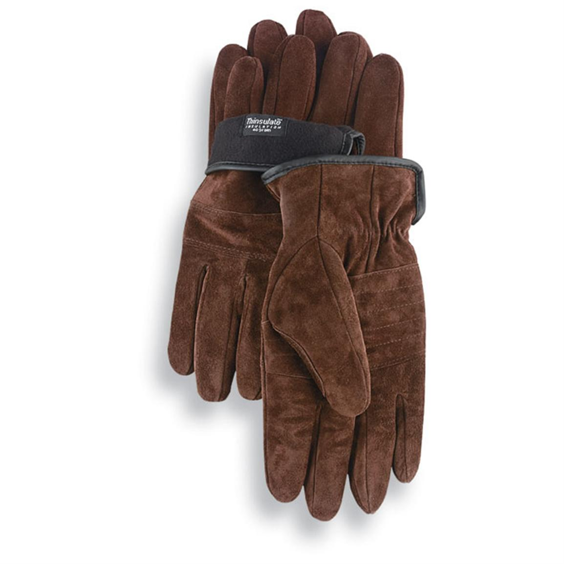 2 prs 80 gram thinsulate insulation goatskin leather work gloves brown
