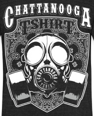 Chattanooga Tshirt Graffiti Gas Mask Designer - Unisex Tri-Blend T