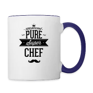 Küchenbulle T Shirt 100 Percent Pure Super Chef Contrast Coffee Mug White Cobalt Blue