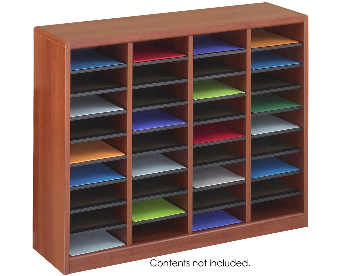 Literature Organizer Wood Safco E Z Stor Wood Literature Organizer 36 Compartments