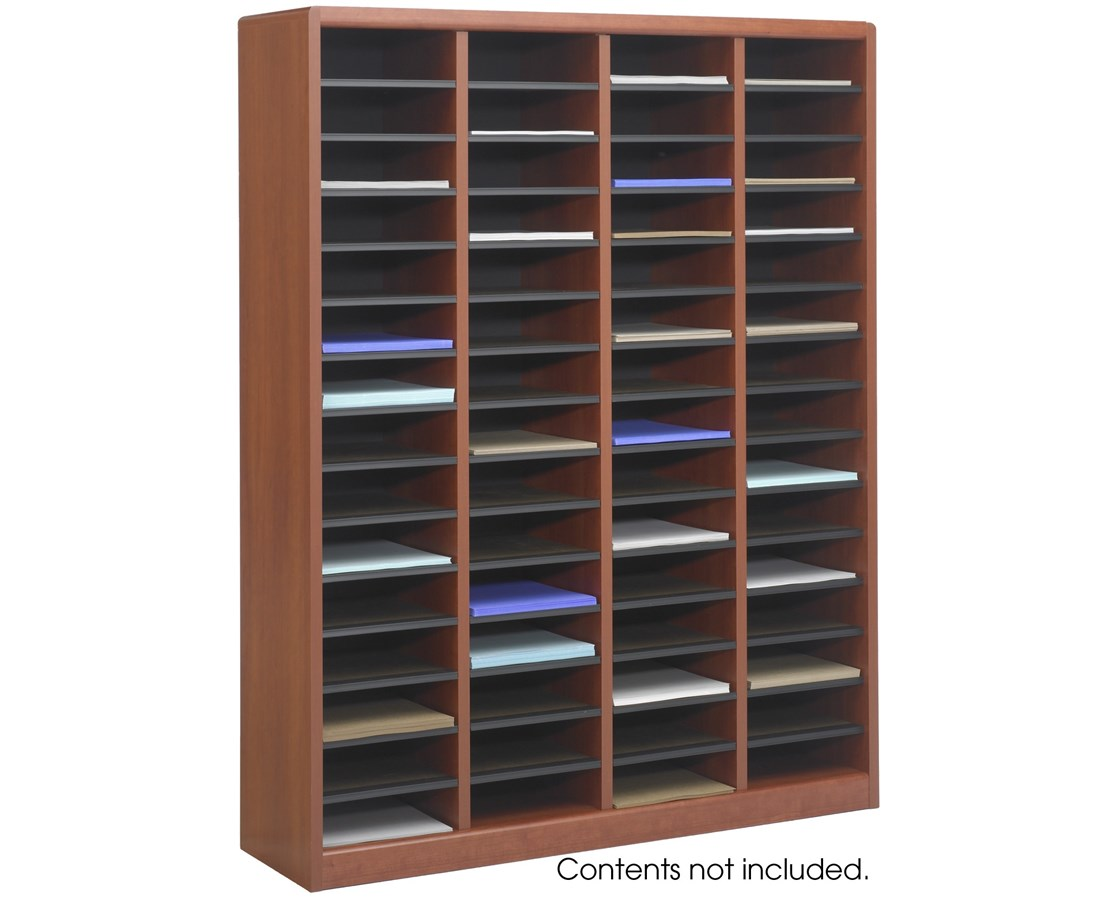 Literature Organizer Wood Safco E Z Stor Wood Literature Organizer 60 Compartments