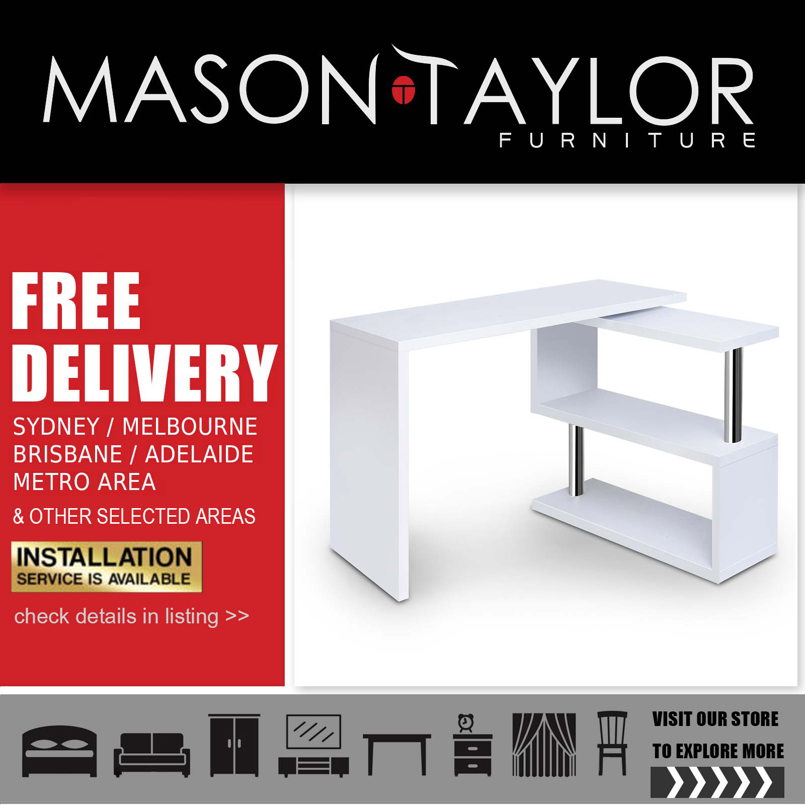Corner Desks Brisbane Details About Mason Taylor Artiss Rotary Corner Desk With Bookshelf White Au