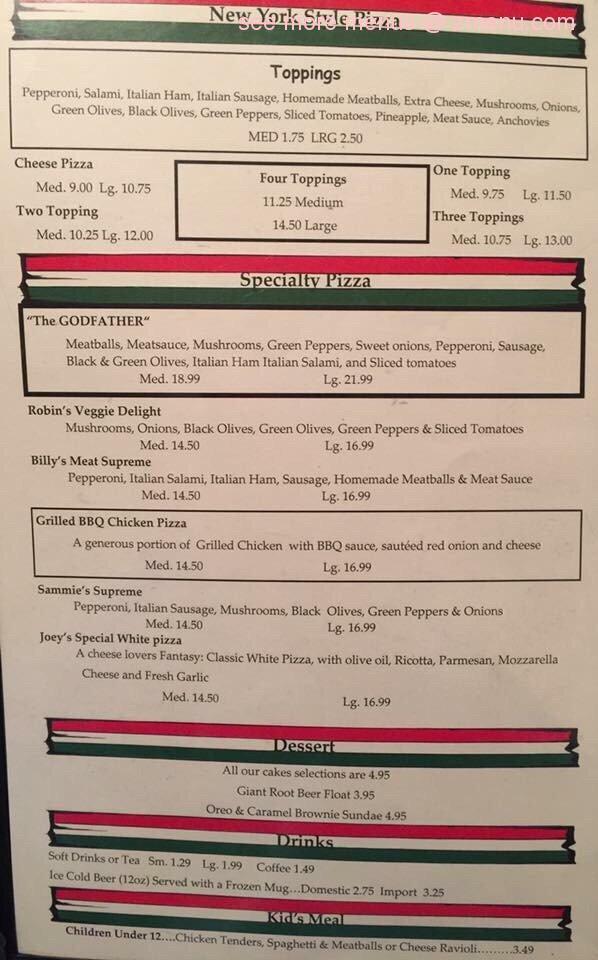 Online Menu of Billy\u0027s Italian Restaurant Restaurant, Vicksburg - italian menu