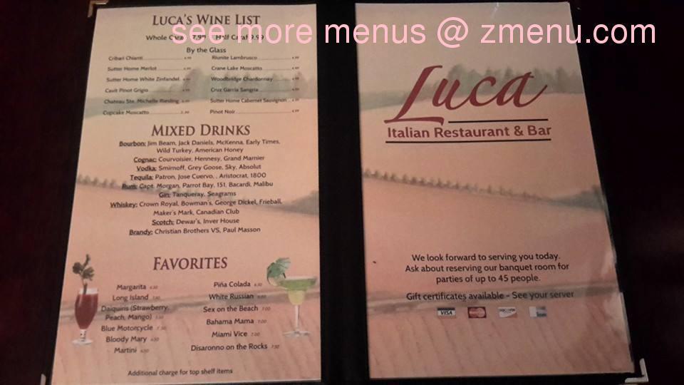 Online Menu of Luca Italian Restaurant Restaurant, Prince George - italian menu