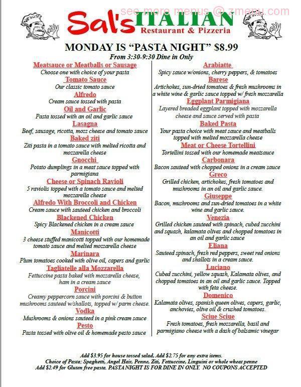 Online Menu of Sal\u0027s Italian Restaurant  Pizza Restaurant, Radford