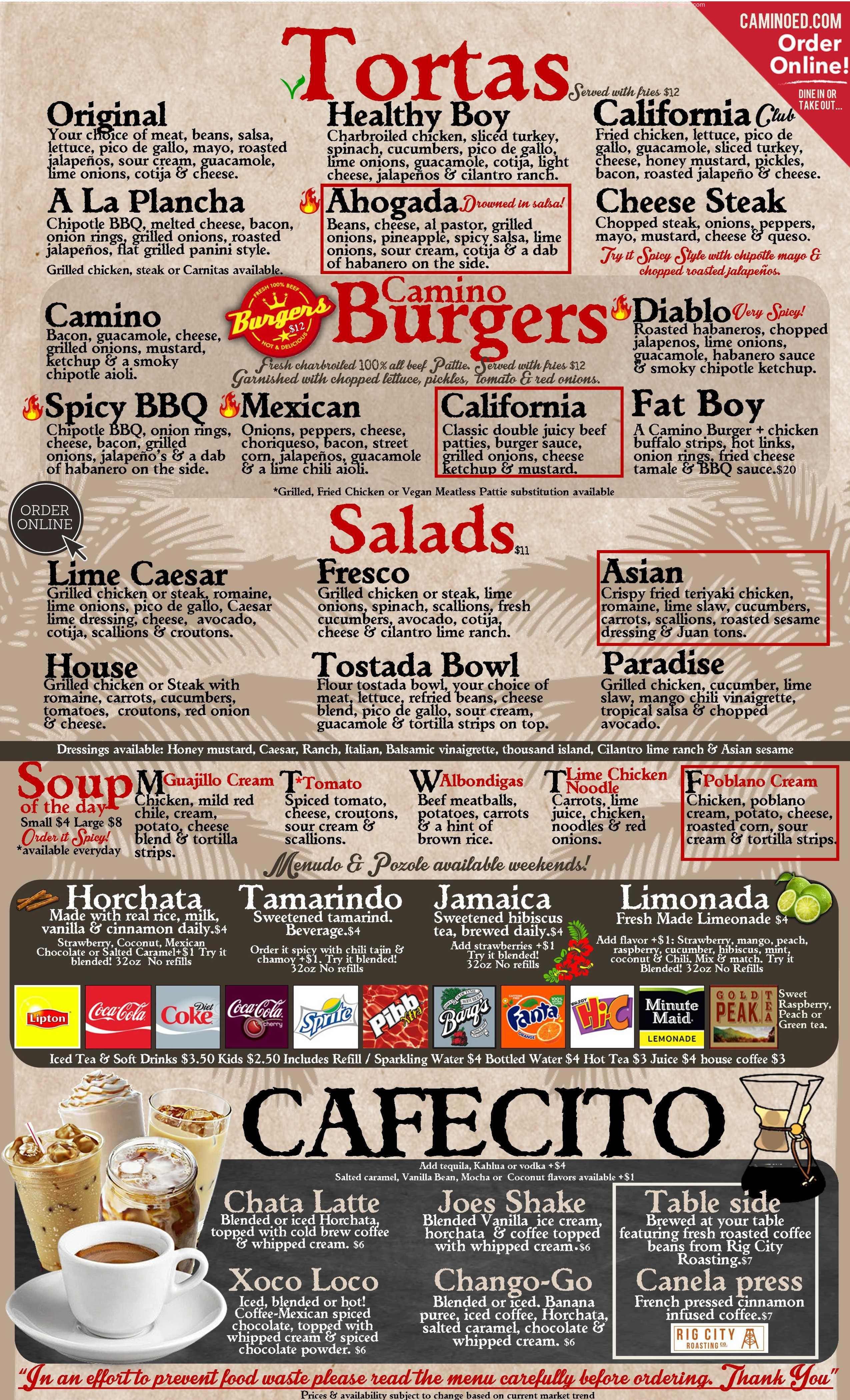 Online Menu Of Camino Real Kitchen Tequila Restaurant Bakersfield California 93313 Zmenu - Camino Real Restaurant Bakersfield