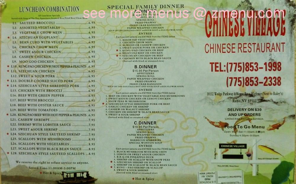 Online Menu of Chinese Village Restaurant, Reno, Nevada, 89511 - Zmenu