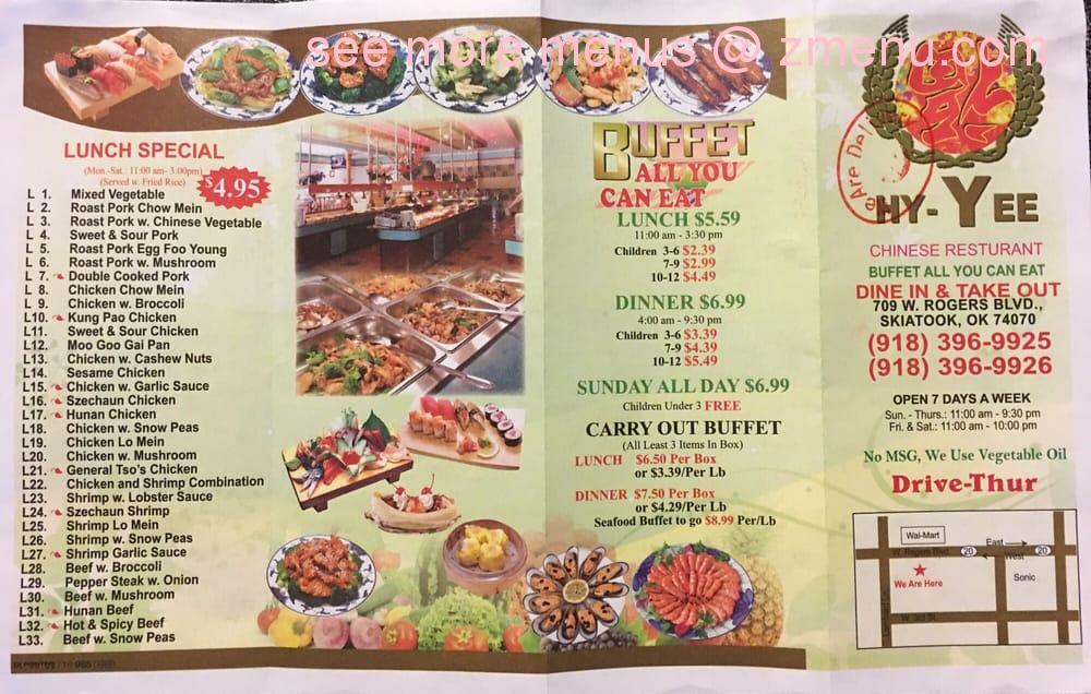 Online Menu of Hy-Yee Restaurant, Skiatook, Oklahoma, 74070 - Zmenu
