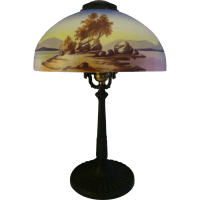 Antique American Lamp Pittsburgh PLB &Co Reverse Painted