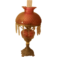 Vintage Cranberry Table Lamp with Hobnail Shade from