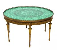 Vintage Malachite Brass Coffee Table Round from