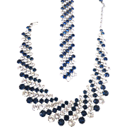 Crown trifari omega chain with faux diamond ring of