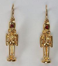 Nutcracker earrings, crystal, 18k gold plate, gold filled ...