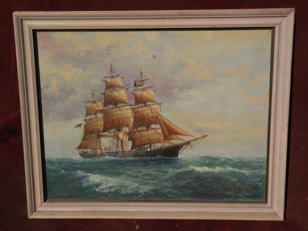 Jb Lighting Usa L. Papaluca (jr.) Son Of Famous Marine Artist Painting Of