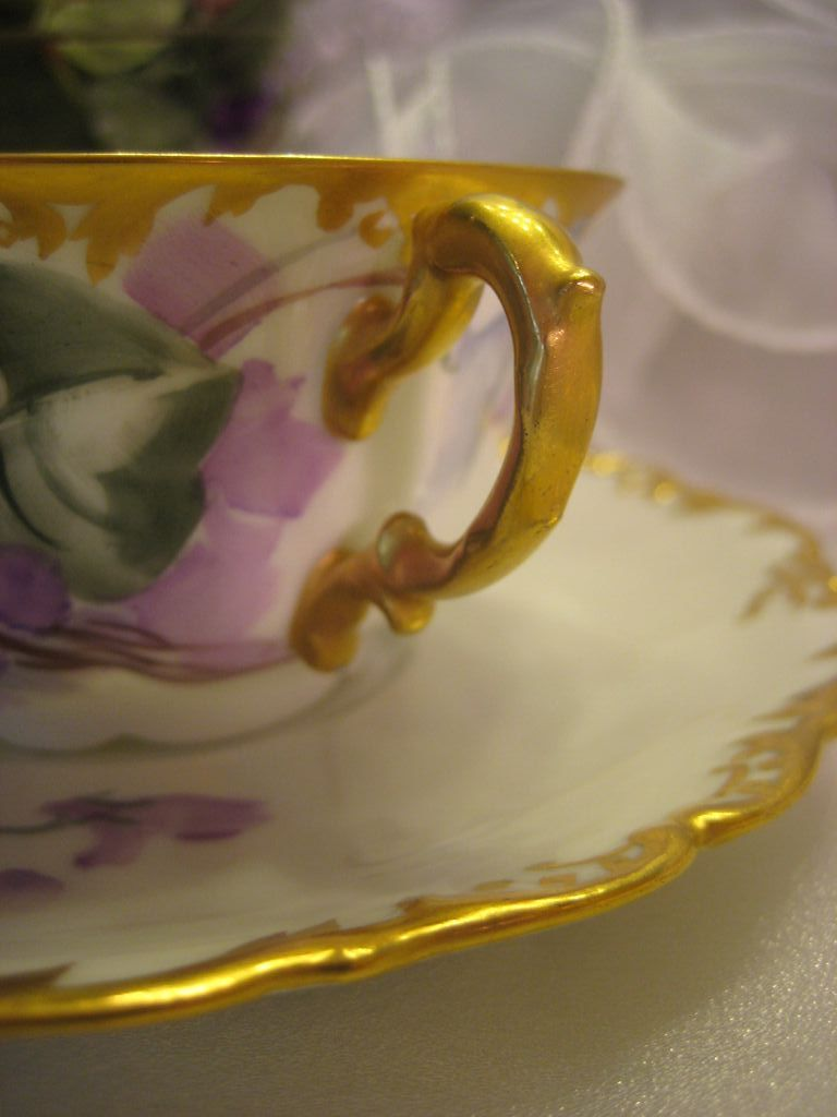 "Shopping For Jewelry ""french African Purple Violets Tea Cup & Saucer"" Antique"