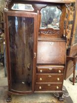 Antique Secretary Desk With Curved Glass
