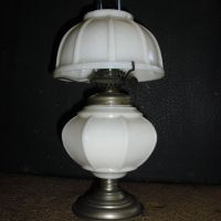 Miniature Kerosene Oil Lamp - Ribbed Milk Glass from ...