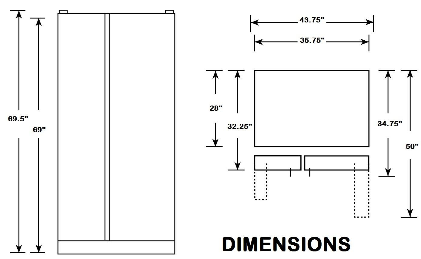 Dishwasher Dimensions Inches Ge Gse25gshss 36 Inch Side By Side Refrigerator With 25 4
