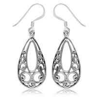 925 Sterling Silver Drop Shape Filigree Earrings Or ...