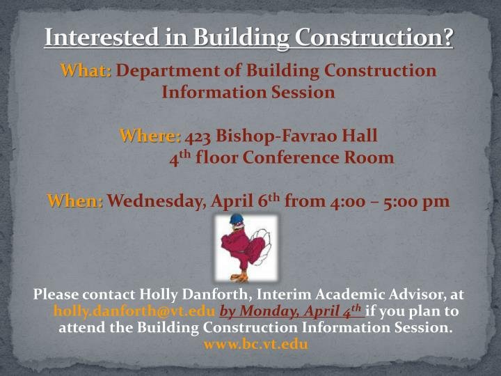 PPT - Interested in Building Construction? PowerPoint Presentation