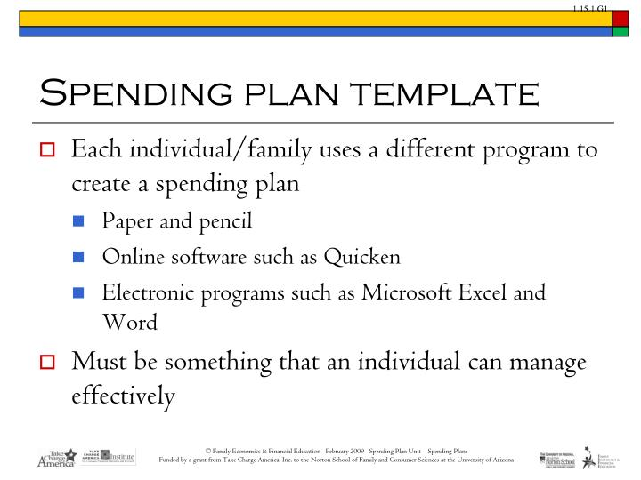 PPT - Spending plans PowerPoint Presentation - ID1548188