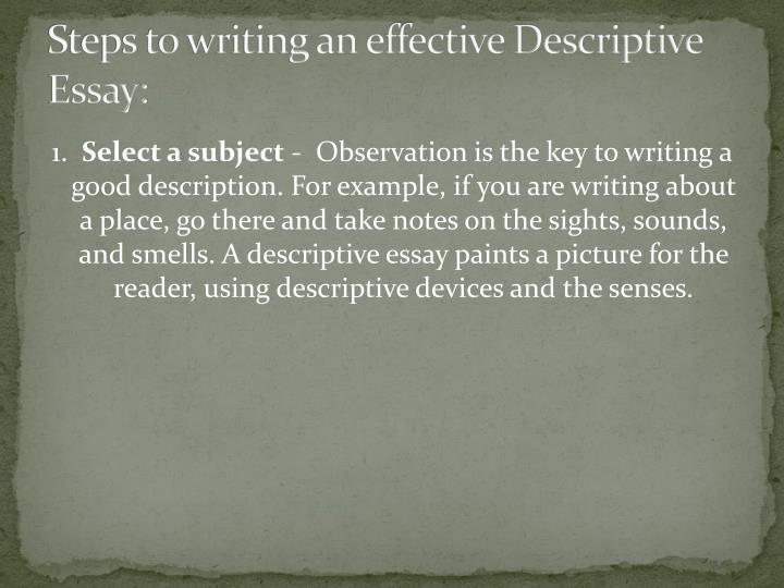 Personal Descriptive Essay The Friary School