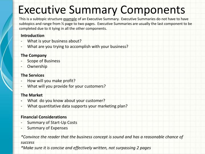 PPT - Components of a Business Plan Executive Summary, Company