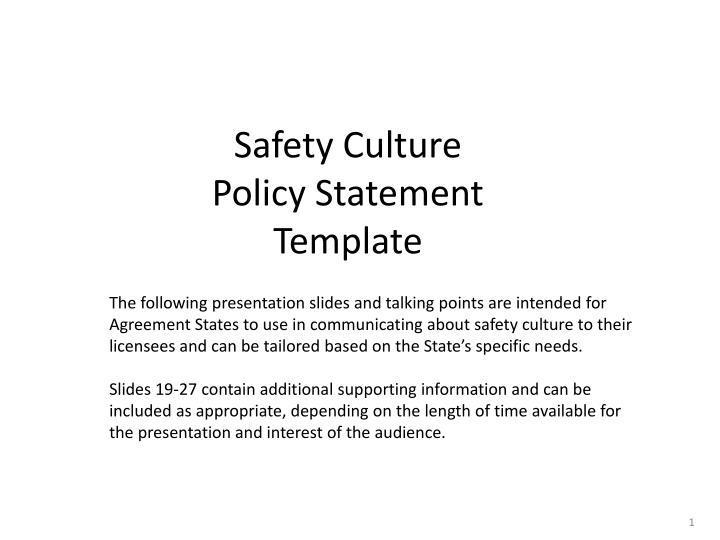PPT - Safety Culture Policy Statement Template PowerPoint