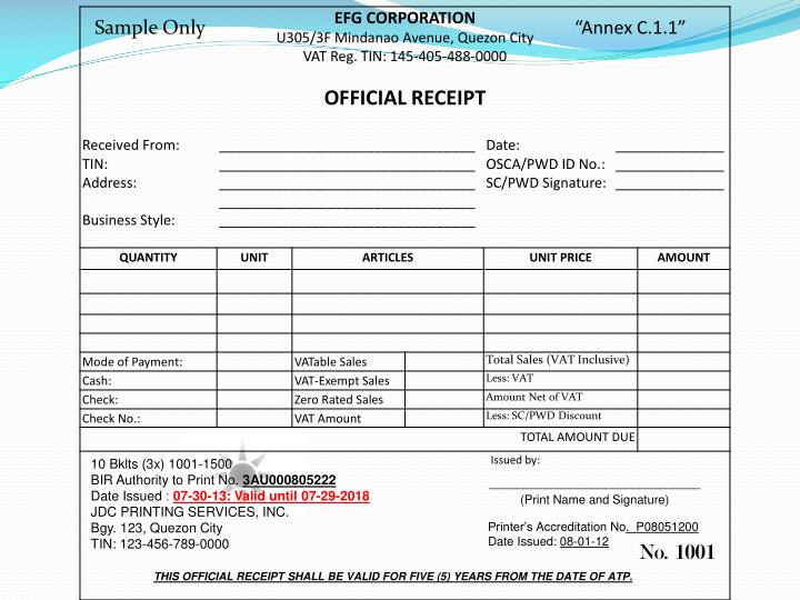 PPT - THIS OFFICIAL RECEIPT SHALL BE VALID FOR FIVE (5) YEARS FROM - official receipt sample