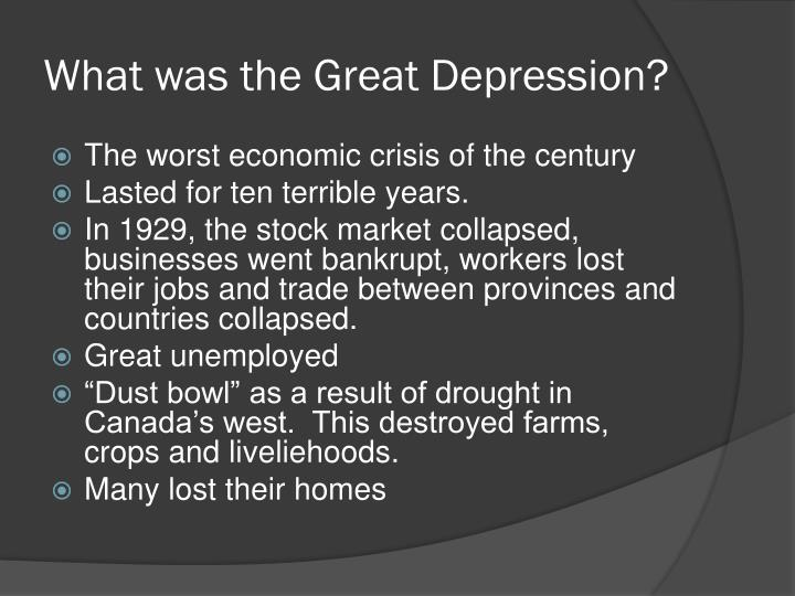 Long term causes of great depression