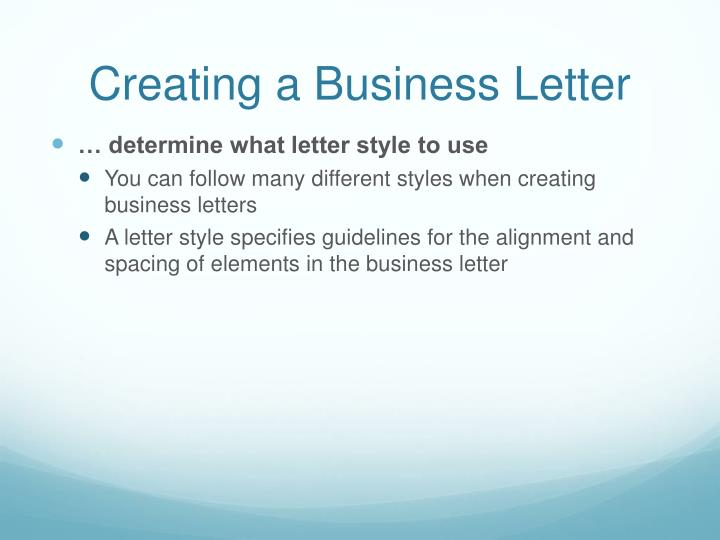 PPT - Creating a Business Letter with a Letterhead and Table