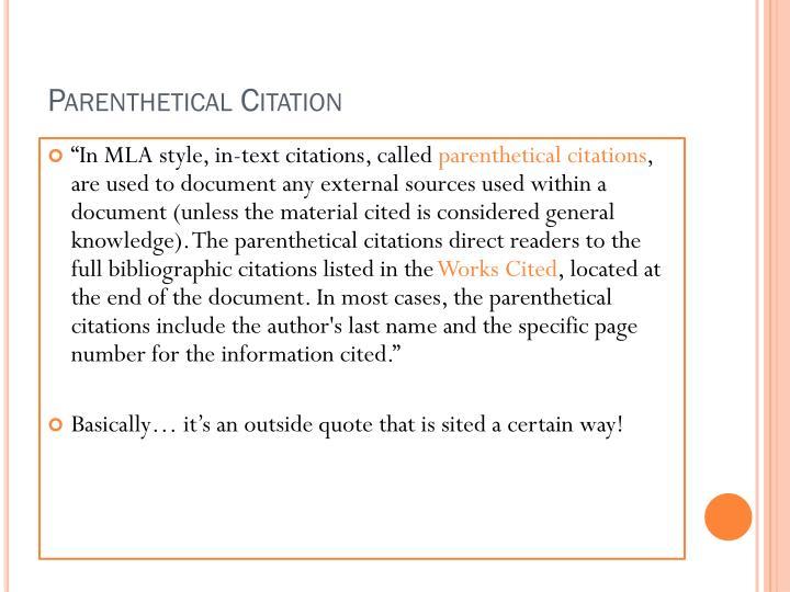 Mla format parenthetical citation Custom paper Academic Service