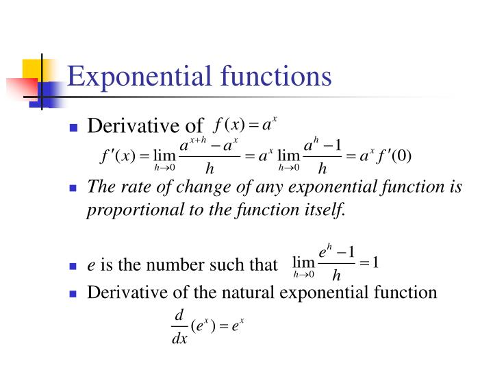 Derivative Exponential And Logarithmic Functionsdefinition of