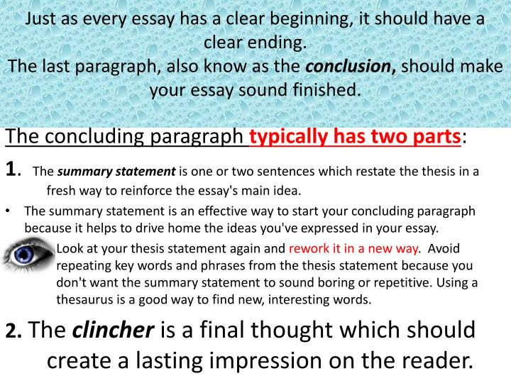 PPT - The concluding paragraph typically has two parts  PowerPoint