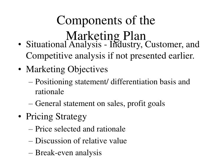 PPT - Components of the Marketing Plan PowerPoint Presentation - ID - Components Marketing Plan