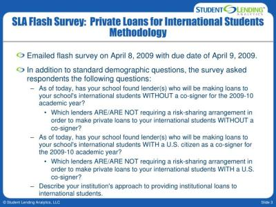 PPT - Student Lending Analytics Private Loans for International Students April 14, 2009 ...
