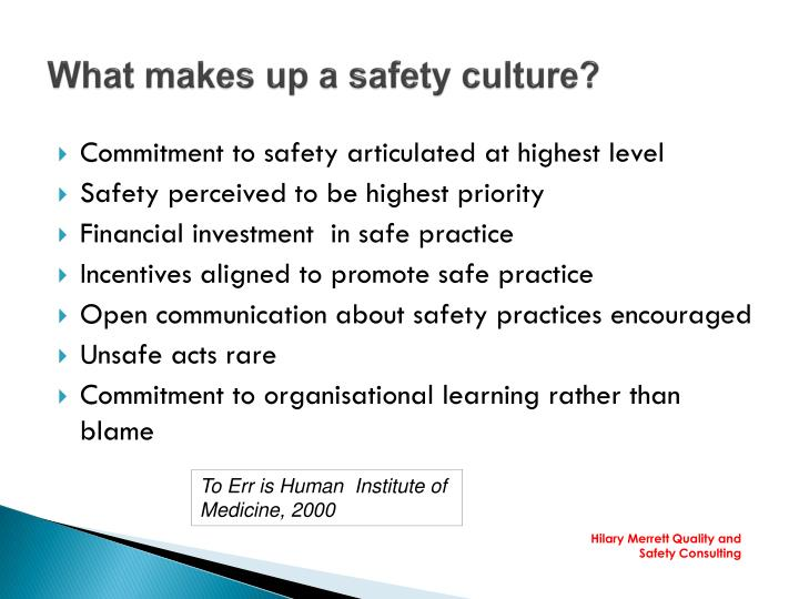 PPT - Patient Safety applying a culture assessment tool in practice